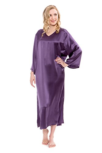 TexereSilk Women's Silk Nightgown 3/4 Sleeves - Luxury Loungewear (Azaylia, Grape, Large) Casual Night Gown Cover Up Loungewear Best Xmas Gifts TS-WS042-003-GRPE-R-L