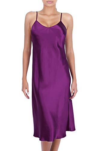 OSCAR ROSSA Women's Luxury Silk Sleepwear 100% Silk Full Slip Chemise Lingerie Nightgown, Ruby Wine, Large