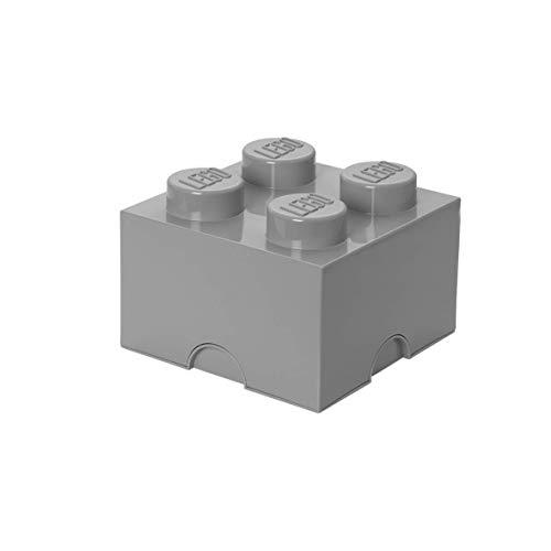 LEGO Brick 4 Knobs Stackable Storage Box, Medium Stone Grey, 5.7 Litre