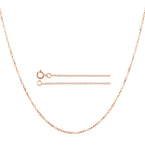 14K Solid Gold 0.85mm Diamond Cut Rolo Link Chain Necklace- Spring Ring Clasp-Multiple colors Available (Rose, 16)