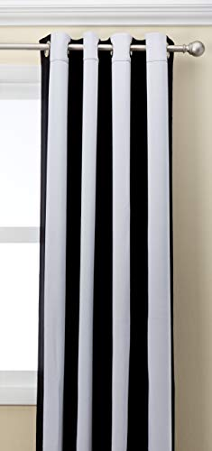 HPD HALF PRICE DRAPES BOCH-KC43-96-GR Awning Stripe Grommet Blackout Room Darkening Curtain, 50 X 96, Black & -