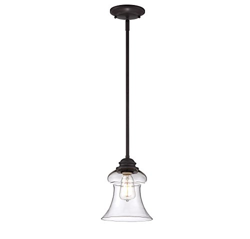 Savoy House Lighting 7-4132-1-13 Casual Lifestyles 1 Light Mini-Pendant and Clear Glass Shade, English Bronze Finish For Sale