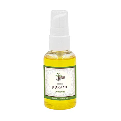 Golden Jojoba Oil by Noble Roots, Cold Pressed Natural Moisturizer for Conditioning Face Skin Hair Scalp and Cuticles (2 fl oz)