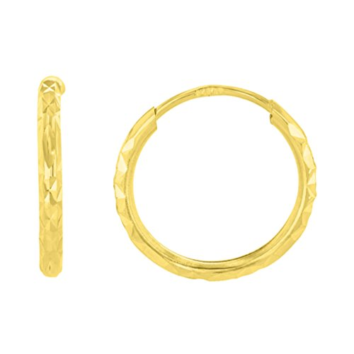 14k Yellow Gold 1.5mm Textured Endless Hoop Earrings (15 x 15.5mm)