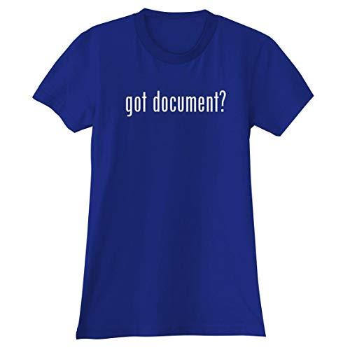 (The Town Butler got Document? - A Soft & Comfortable Women's Junior Cut T-Shirt, Blue, X-Large)