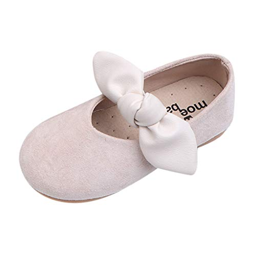 (Girls Soft Sole Mary Jane Princess Shoes Vintage Loafers Flats Running Sneakers Evening Prom Sandals for 1-6 Years Beige)