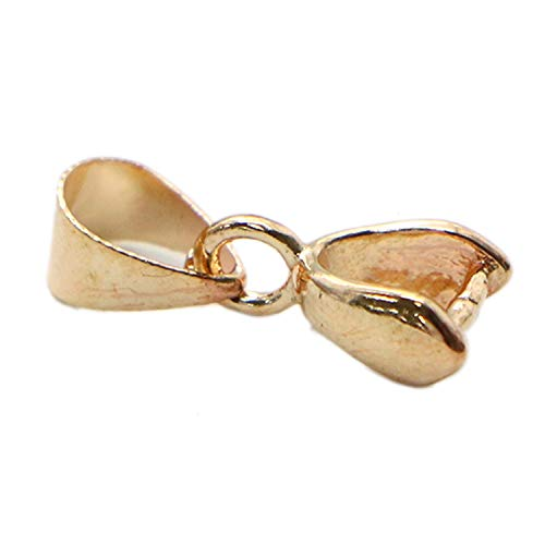 Monrocco 50 Pcs Rose Gold Crafts Bead Charm Pendant Metal Clasp Connector Pinch Clip Bail for Jewelry Making, 4 x 19 mm