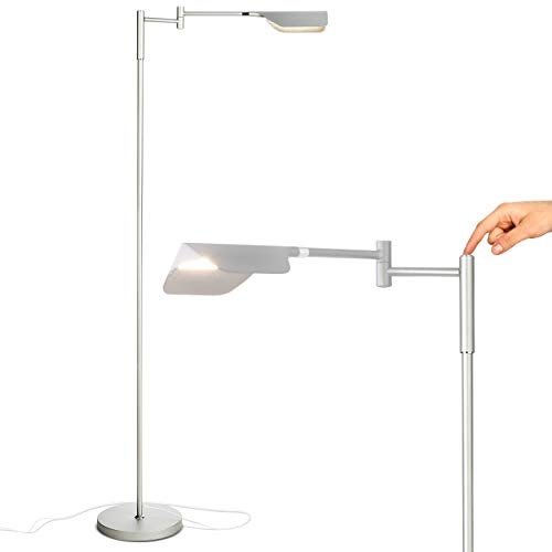 Brightech - Leaf Touch LED Floor Lamp for Reading, Crafts & Precise Tasks - Standing Modern Pharmacy Bright Light for Living Room, Sewing - Great by Office Desks & Tables - Platinum Silver