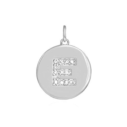 10k White Gold Diamond Charm Disc Initial Letter E Pendant