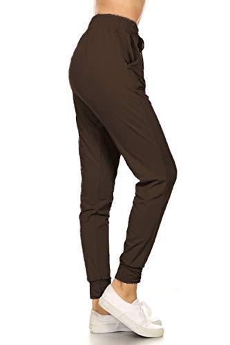 Leggings Depot JGA128-BROWN-L Solid Jogger Track Pants w/Pockets, Large