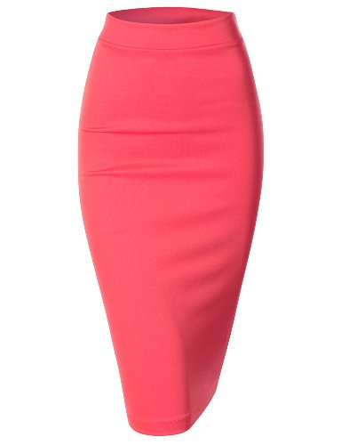 Doublju Womens Scuba Stretchy Midi Pencil Skirt PINK LARGE (Hot Pink Pencil Skirt compare prices)
