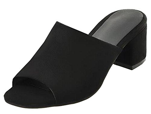 Easemax Women's Elegant Mid Chunky Heels Faux Suede Slip On Mules Sandals Black 10 B(M) US by Easemax