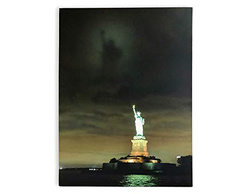 BANBERRY DESIGNS Patriotic Wall Art - Statue of Liberty LED Light Up Picture - Canvas Print with Ellis Island and Along The Night Sky - American Decor- New York Canvas