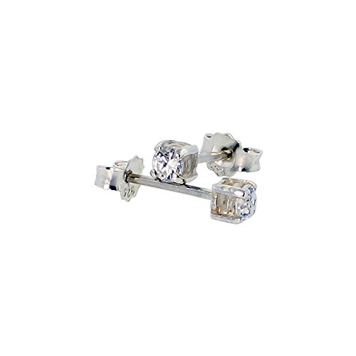 (Sterling Silver 3mm CZ Stud Earrings Brilliant Cut White Coated Basket Setting Color Platinum 1/4 cttw)
