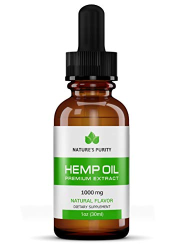 Premium Organic Hemp Oil by Natures Purity - New Product - 1000mg Extra Strength - 100% Natural, Reduces Anxiety, Inflammation, Joint Pain, Stress