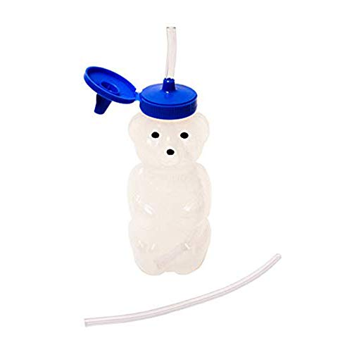 Talktools Honey Bear Drinking Cup with 2 Flexible Straws - Includes Instructions - Spill-proof Lid (Cup Straw Drinking Toddler)