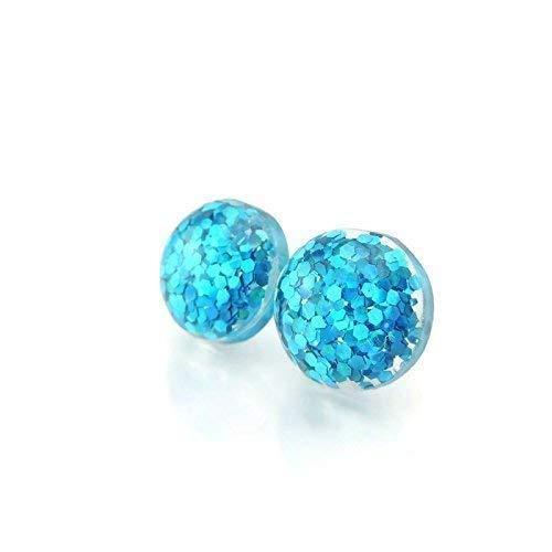Glitter Confetti Filled Earrings on Plastic Post Studs, 12mm Aqua Blue