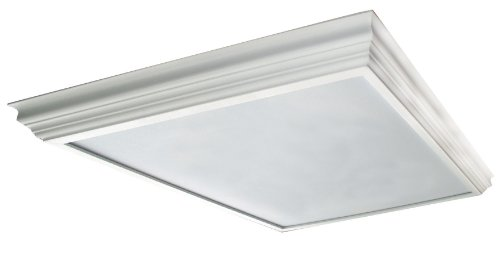 Lighting by AFX WCM2U3R8 Winchester Crown Molding Wood Frame 2-Lamp Fixture with U-Bent T8 Lamps, White Finish with Smooth White Acrylic Diffuser