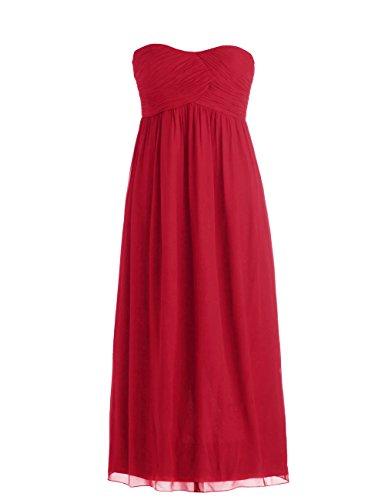 Dressystar Robe de demoiselle d'honneur/de soirée Simple, en Mousseline Taille 46W Rouge Foncé
