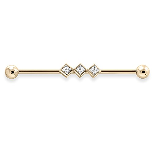 Straight Barbell With 3 Square Bezeled Set Gems, Gauge: 16 (1.2Mm), 14K Yellow Gold, 1 3/4