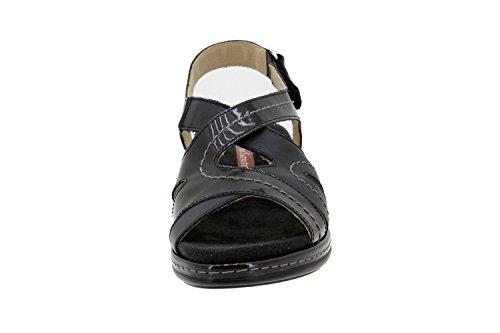 Calzado mujer confort de piel Piesanto 4813 sandalia plantilla extraíble zapato cómodo ancho Negro