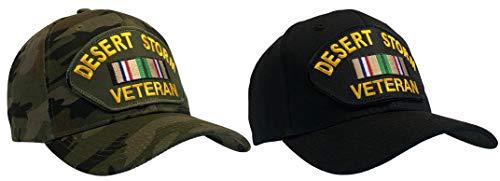 2 Pack Black + Camo Desert Storm Veteran Ball Cap Hat Southwest Service Asia Ribbon