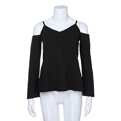 Longues Femmes Manches AIMEE7 Blouse V Chemisier paule Haut Noir Mode Tops Solide Col qU8Up