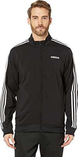 adidas Essentials Men's 3-Stripes Track Jacket, Black/White, Large
