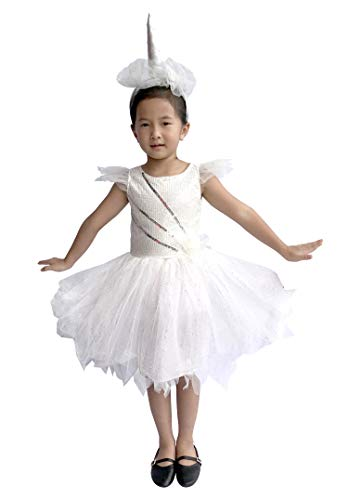 So Sydney Deluxe Girls Sparkle White Unicorn Costume & Accessories, Kid Toddler Halloween Dress-Up (L (7/8), Sparkle White Unicorn)