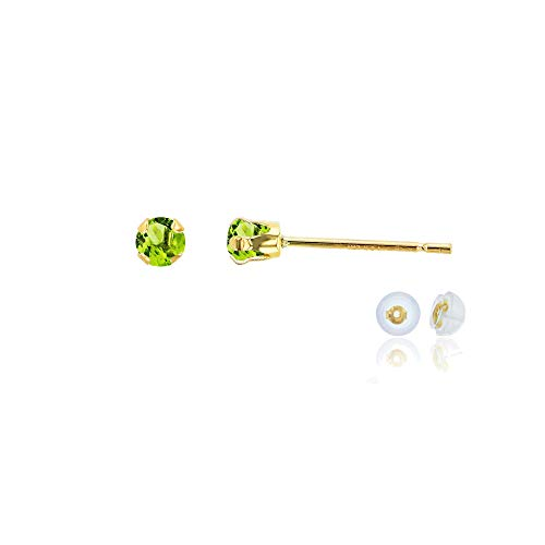 Genuine 14K Solid Yellow Gold 3mm Round Natural Green Peridot August Birthstone Stud Earrings ()