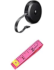 2 Pack Soft Tape Measure Retractable Measuring forBody Fabric Sewing Tailor Cloth Knitting Craft Weight LossMeasurements 60-Inch Soft Pink & Retractable Black Dual Sided Tape Measure Body Measuring