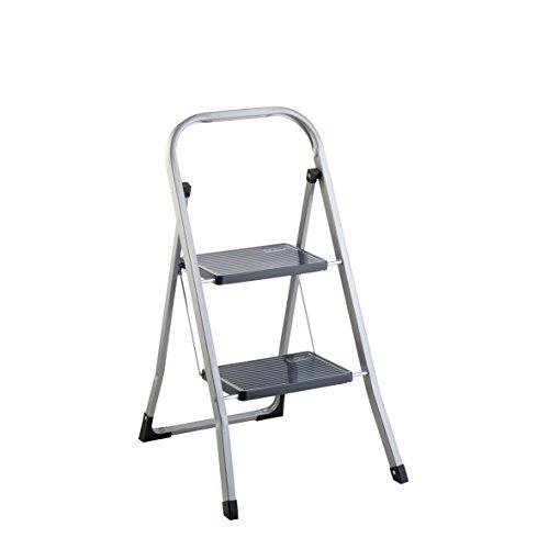 axentia Klapptritt 251201 für den Innen- und Außenbereich, 2-stufige Klappleiter aus Stahl, Trittleiter mit Sicherheitsbügel und Sicherheitshaken gegen unabsichtliches Schließen der Leiter, mit geriffelten Stufen gegen Ausrutschen, ca. 87 x 47 x 5 cm