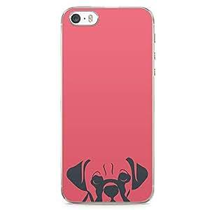 iPhone SE Transparent Edge Phone case Cute Dog Phone Case Pet Phone Case Red