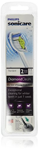 Philips Sonicare  Diamondclean Replacement Toothbrush Heads for Sonicare Electric Rechargeable Toothbrush, Standard, White, 2-pack, HX6062/64