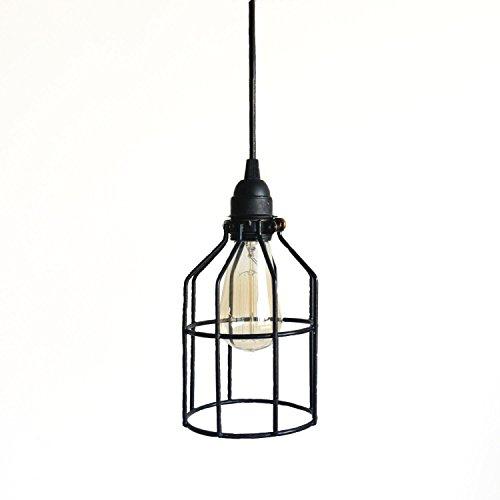 Black Cage Pendant Industrial Lighting – Kitchen Island Bar Drop Light, Metal light guard hanging pendent lighting, steampunk lighting