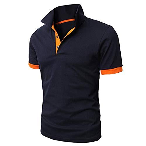 Canserin Mens Shirts Contrast Collar Golf Tennis Short Sleeve Shirt Summer Personality Shirt(Navy,XL) (Tennis Shirt Raglan)
