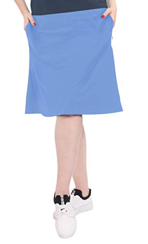 Kosher Casual Women's Modest Knee-Length Swim Sport Skirt with On-Seam Side Zip Pockets & Attached Shorts XL Vista Blue