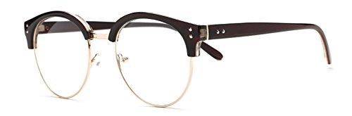 Outray Vintage B241 Retro Half Frame Horn Rimmed Round Lens Glasses Brown