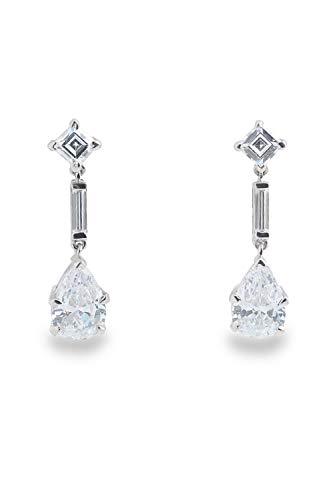 Adastra Jewelry 925 Sterling Silver Dangle Earrings Pear Drop long baguette