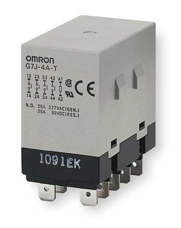 Omron G7J-4A-T-W1 AC24 General Purpose Relay With Mounting Bracket, Quick-Connect Terminal, W-Bracket Mounting, Quadtruple Pole Single Throw Normally Open Contacts,  75 mA Rated Load Current, 24 VAC Rated Load Voltage