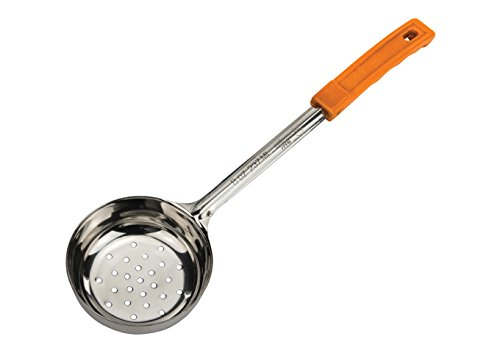 Winco FPPN-8, 8 Oz Perforated Stainless Steel Food Portioner with Green Plastic Handle, Kitchen Ladle, Portion Spoon, NSF ()