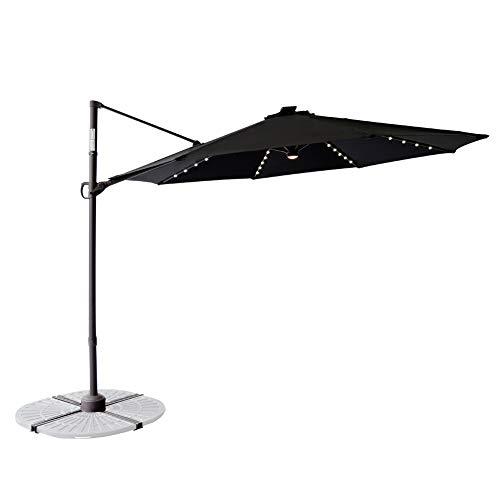C-Hopetree 10 Foot Freestanding Off-Set Patio Umbrella Rechargeable LED Cross Base Infinite Tilting 360° Rotation Large Round Black