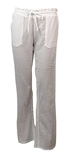 Miken Womens Crinkled Cotton Pocket Swim Cover Pants (XS, Bright White) by Miken