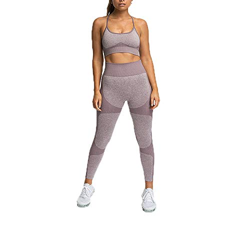 Hotexy Women's Workout Sets 2 Pieces Suits Color Block Yoga Leggings with Stretch Sports Bra Gym Clothes