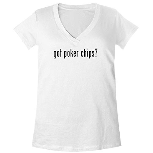 The Town Butler got Poker Chips? - A Soft & Comfortable Women's V-Neck T-Shirt, White, X-Large