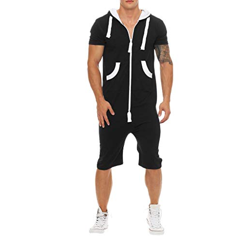 2019 Shirts Men's Unisex Jumpsuit One-Piece Garment Non Footed Pajama Playsuit Blouse Hoodie Black