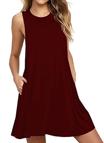 WEACZZY Women's Sleeveless Pockets Casual Swing T-Shirt Dresses (Wine red, L)