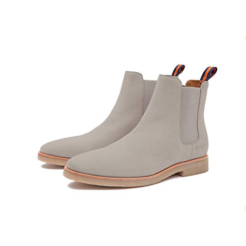 (New Republic Men's Chuck Suede Chelsea Boot with Crepe Outsole - Light Gray (10))