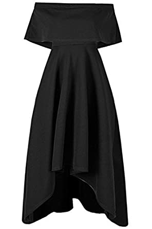f07935544e Be Jealous Ladies Off Shoulder Bardot Celeb High Low Franki Womens Viscose  Ruffle Pelum Frill Swing Skater Midi Dress: Amazon.co.uk: Clothing