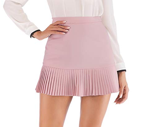(Hanlolo Women's Ruffle Hem Skirts High Waisted Pencil Mini Short Skirt Pink 8)